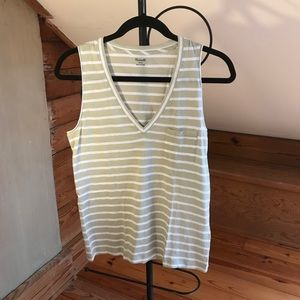 Madewell Green White Striped Tank Top, NWOT, S